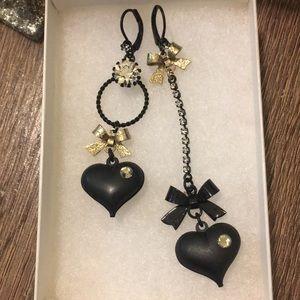Betsey Johnson Mismatched Bow/Heart Drop Earrings